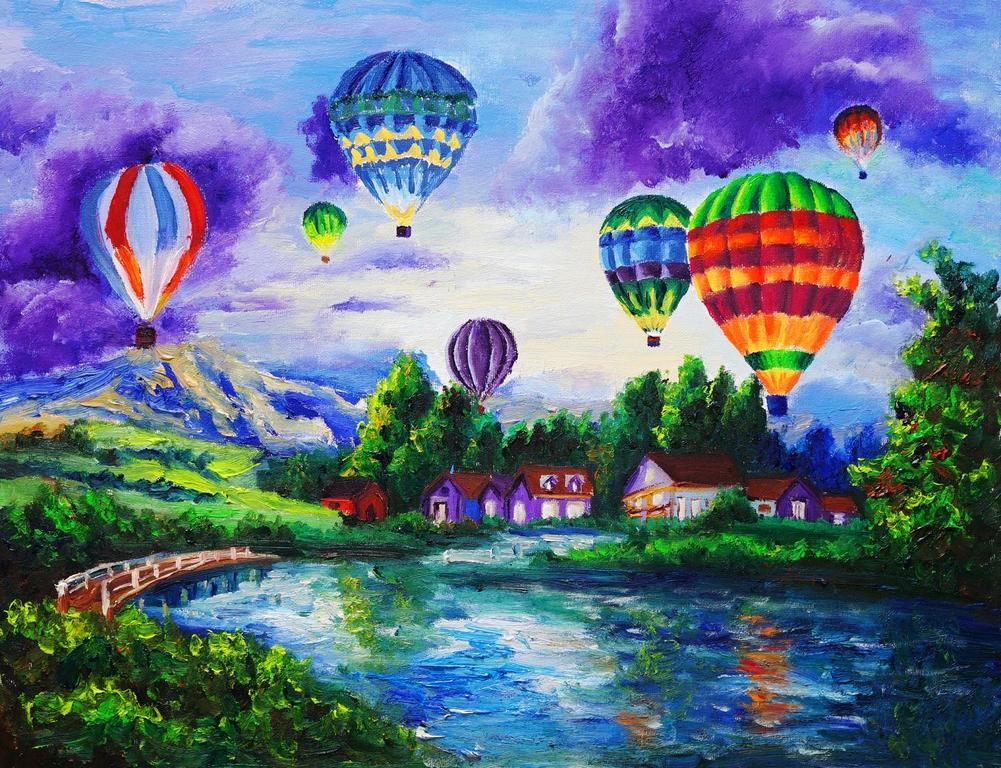 """Фотообои """"3D Фотообои  """"Живопись: Воздушные шары"""" """""""