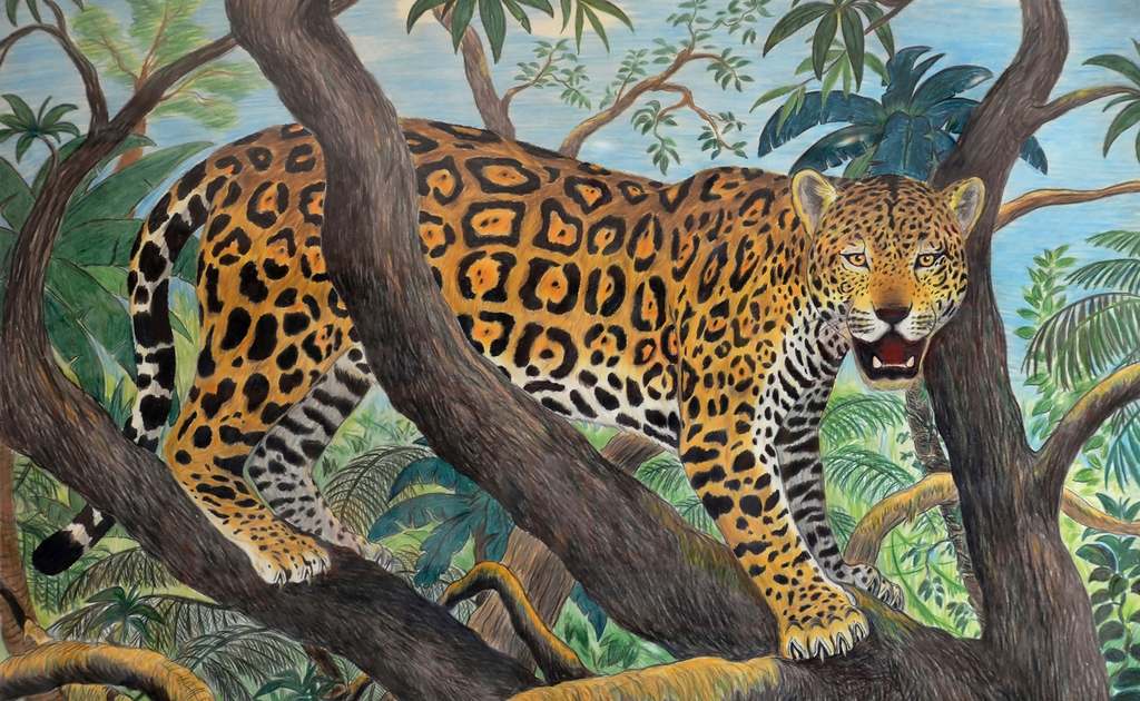 3D Фотообои  Живопись: Леопард<br>kit: None; gender: None;