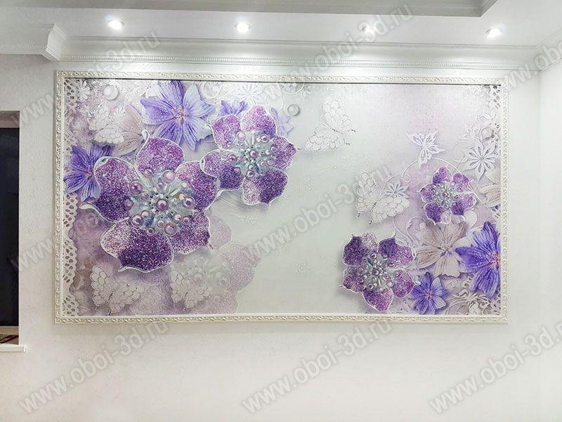 3D Фотообои «Ювелирные фиолетовые цветы»