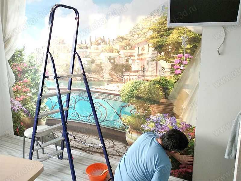 3D Фотообои «Балкон в солнечном городе»