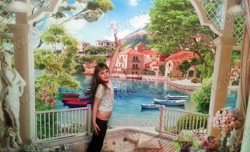 3D Фотообои «Веранда с видом на лодки в заливе»