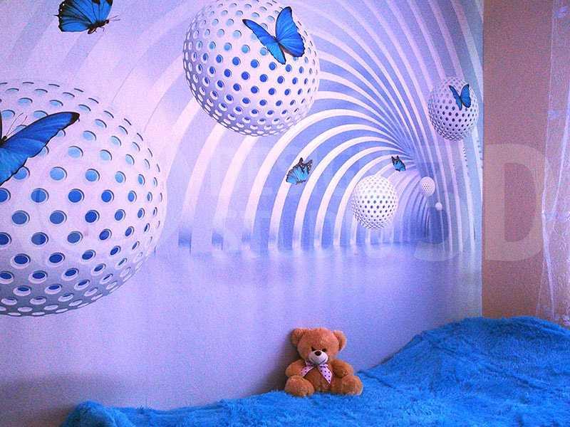 3D Фотообои «Футуристичный тоннель с бабочками»