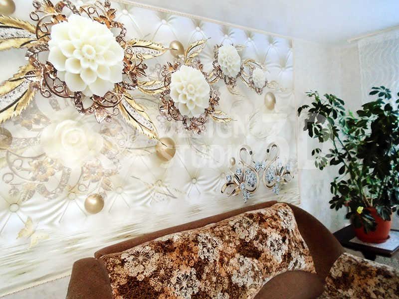 3D Фотообои  «Керамические цветы над парой лебедей»
