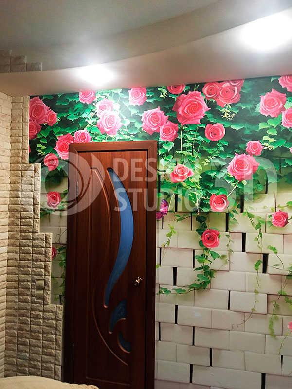 3D Фотообои «Кирпичная стена с цветами»